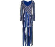 Jacquard-Kleid mit Fransen