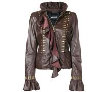 ruffled leather blouse