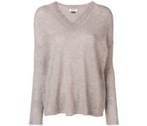 cashmere frayed V-neck sweater
