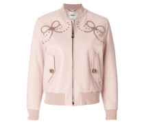 leather bomber jacket with double bow of pearls