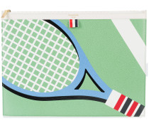 Large Zipper Laptop Holder (39x28Cm) With Tennis Racket Intarsia In Pebble Grain & Calf Leather