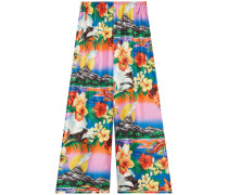 Hawaiian print silk pajama pants