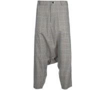 check drop-crotch trousers