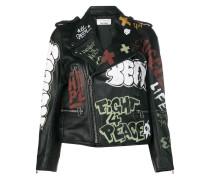 graffiti print biker jacket