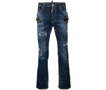 Distressed-Jeans mit Westernapplikationen