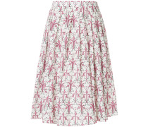 pleated floral-print midi skirt