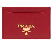 red logo leather cardholder