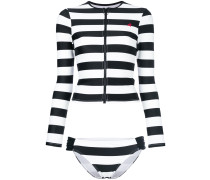 long sleeved striped rashguard