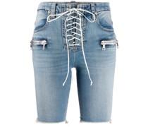 Jeans-Shorts mit Schnürung