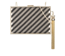 tassel detail striped minaudière