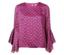 printed flared cuff blouse