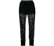 lace insert track pants