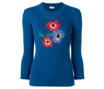 Intarsien-Pullover mit Blumen-Motiven