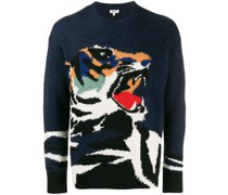 Intarsien-Pullover mit Tiger