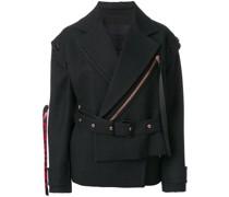 Belted Asymmetrical Logo Pull Coat