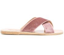 crossover velvet sandals