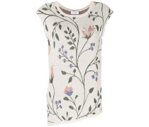 sleeveless floral print knitted top