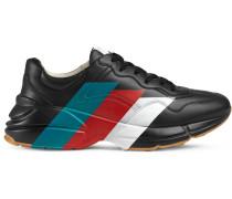 Rhyton Sneakers aus Leder mit Web-Print