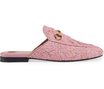 Pale Pink Princetown Lace Mules
