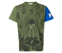 Bedrucktes T-Shirt mit Kontrastärmeln