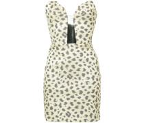 strapless leopard-print dress