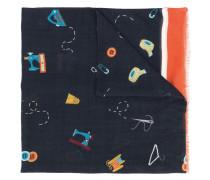Schal mit Nähmaterial-Print
