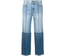 Cropped-Jeans mit zweifarbigem Design