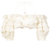 ruffled pom pom cropped blouse