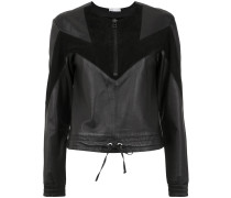 panelled leather blouse