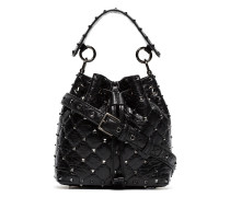 black Rockstud small studded leather bucket bag