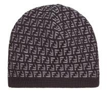 Wollmütze mit Logo-Muster