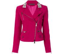 embellished collar leather biker jacket