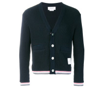 Oxford Stripe Chunky Waffle Knit V-Neck Cardigan - Unavailable