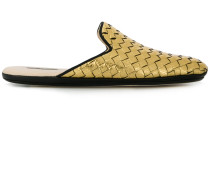 light gold Intrecciato furrow metal fiandra slipper