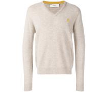 Melierter Pullover mit V-Ausschnitt
