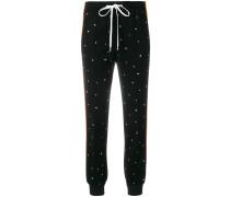 crystal embellished track pants