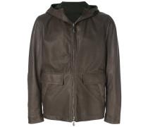 reversible hooded leather jacket