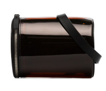 orange transparent PVC leather cylinder belt bag