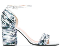 sequin chunky heel sandals
