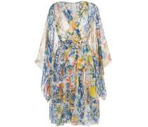 V-neck majolica print silk chiffon dress