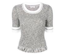 Tweed-Pullover mit Fransen