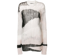 open knit distressed jumper