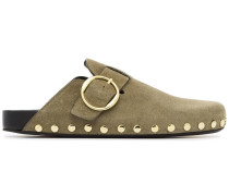 taupe mirvin suede leather backless clogs