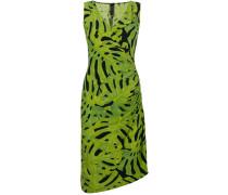 leaf print fitted dress