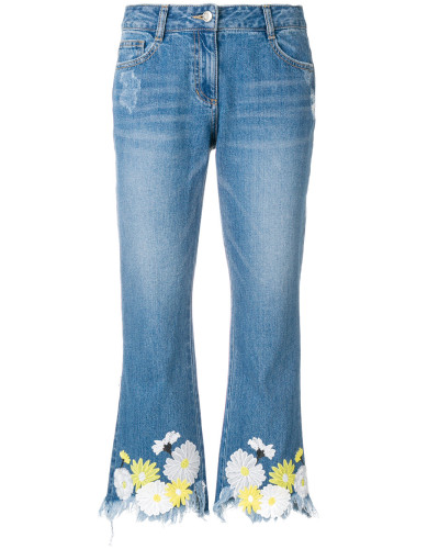 raw edge floral jeans