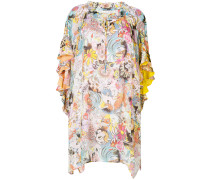 contrast print asymmetric dress
