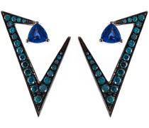 Weißgoldohrringe mit Saphir und Diamanten
