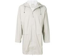 mid-length hooded raincoat