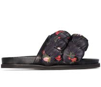 floral print braid slides
