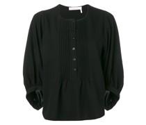 Bluse mit plissiertem Latz